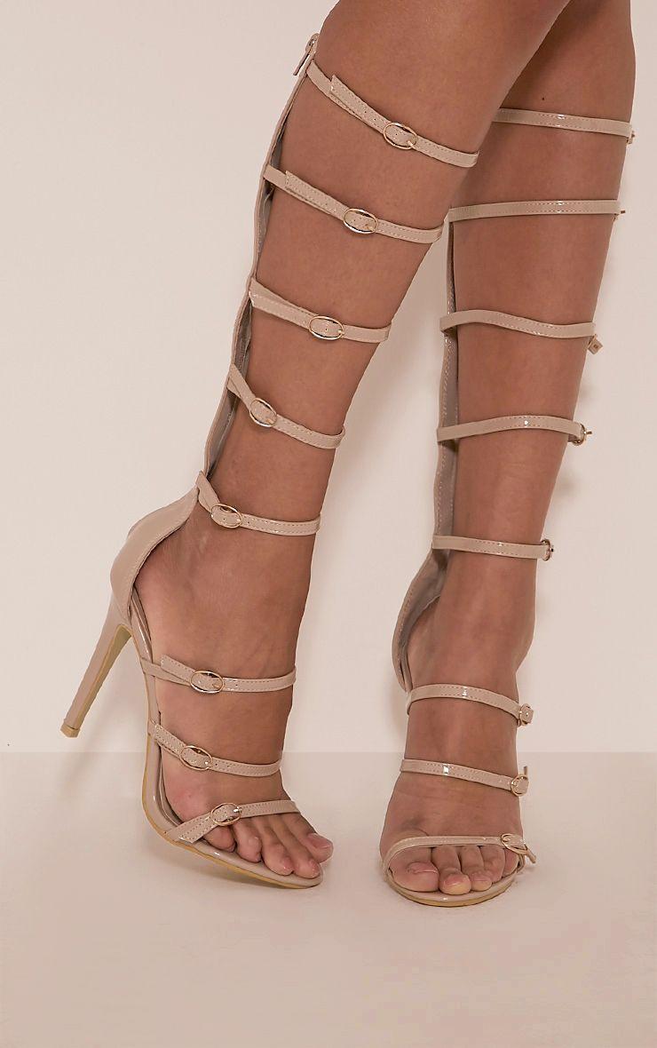 Josia Nude Patent Multi Strap Sandals 1