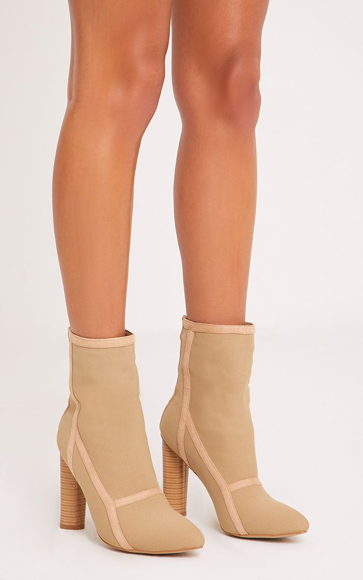 Kyra Nude Panelled Sock Boots