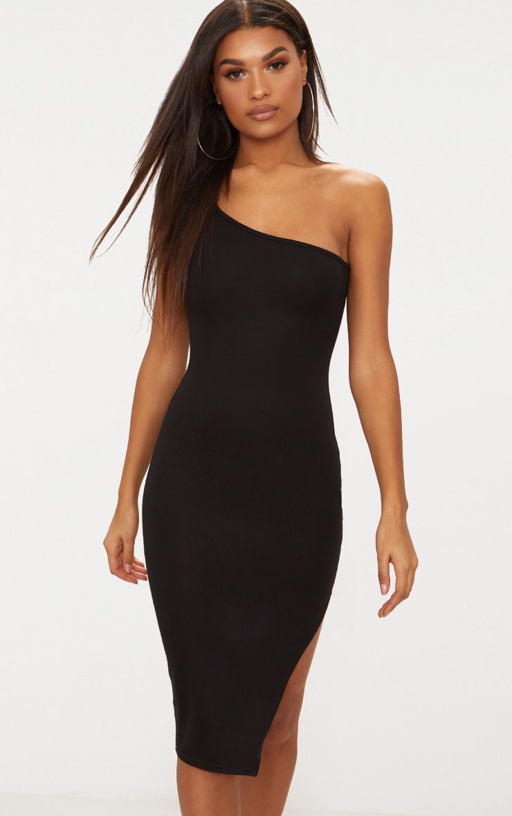Black One Shoulder Midi Dress 1