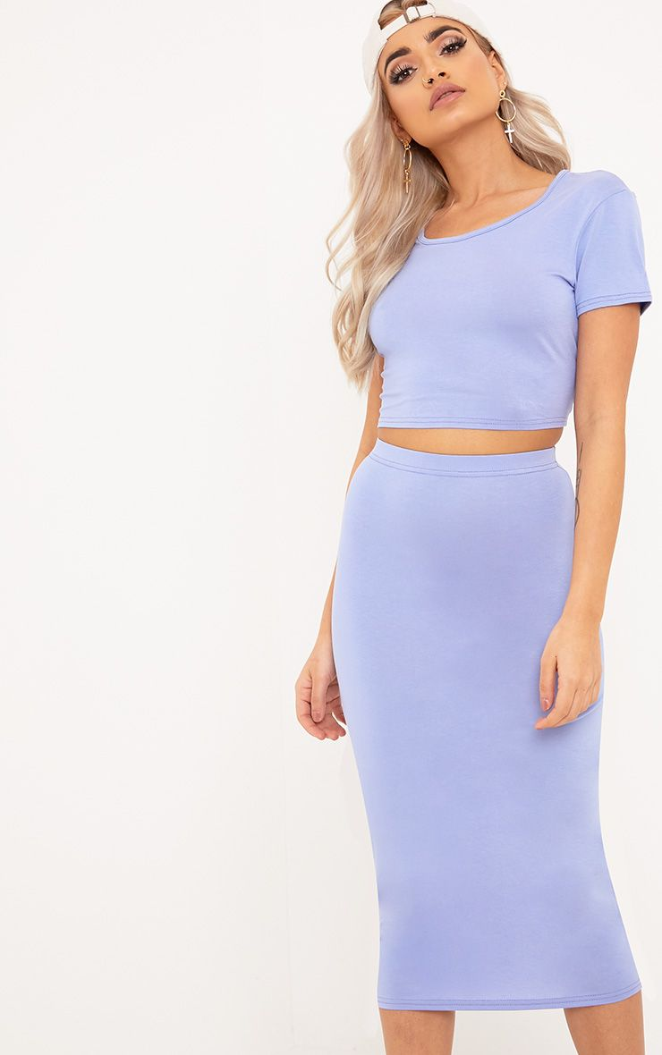 Anaceila Ice Blue Jersey Top & Midi Skirt Set