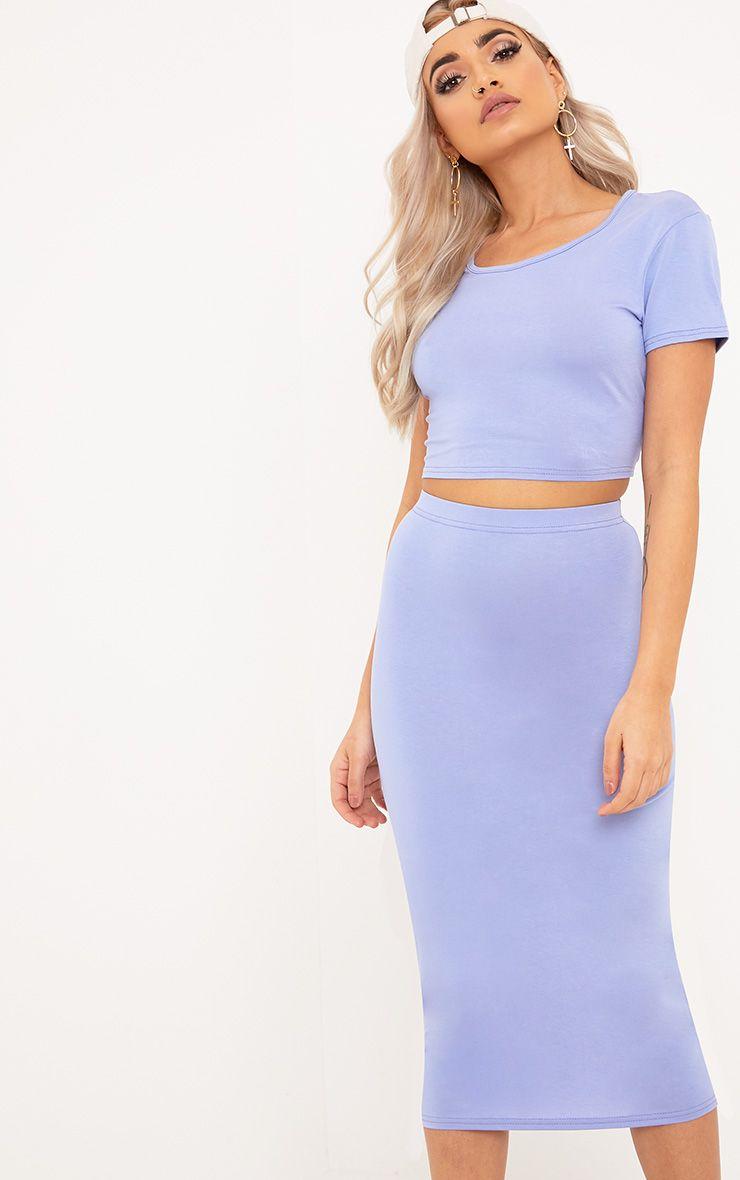 Anaceila Ice Blue Jersey Top & Midi Skirt Set