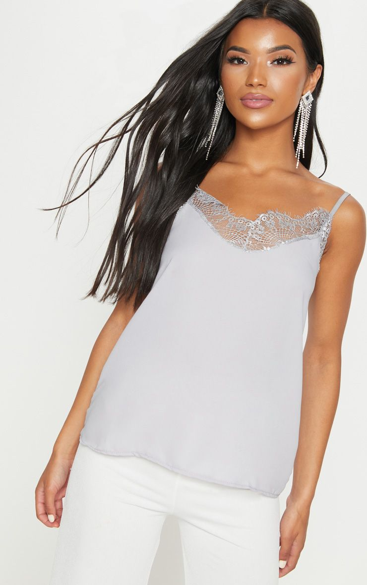 Grey Lace Trim Cami Top