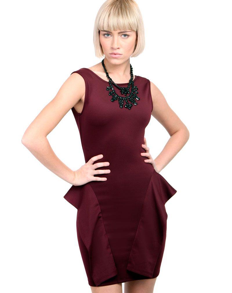 Erika Burgundy Side Peplum Dress 1