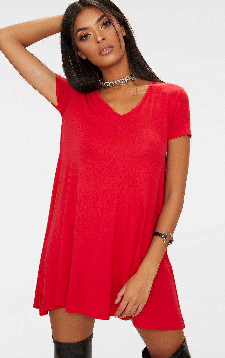 Red Cap Sleeve V Neckline Swing Dress
