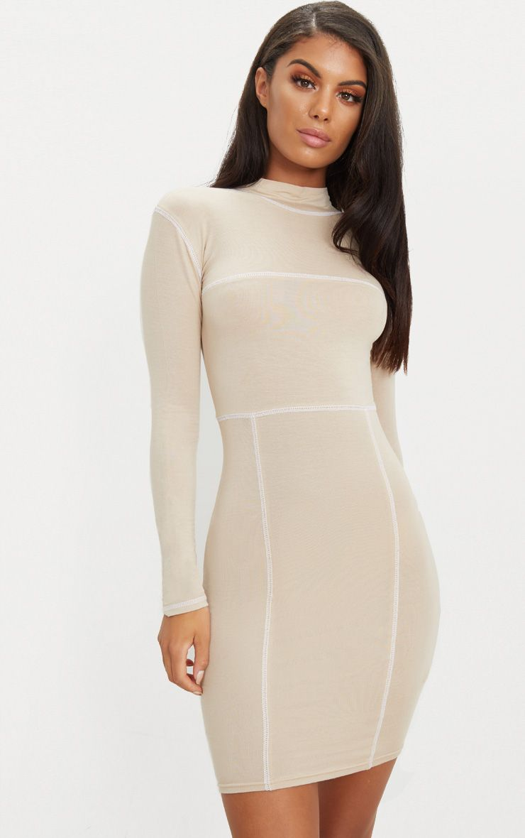 Stone Contrast Stitching Long Sleeve Bodycon Dress