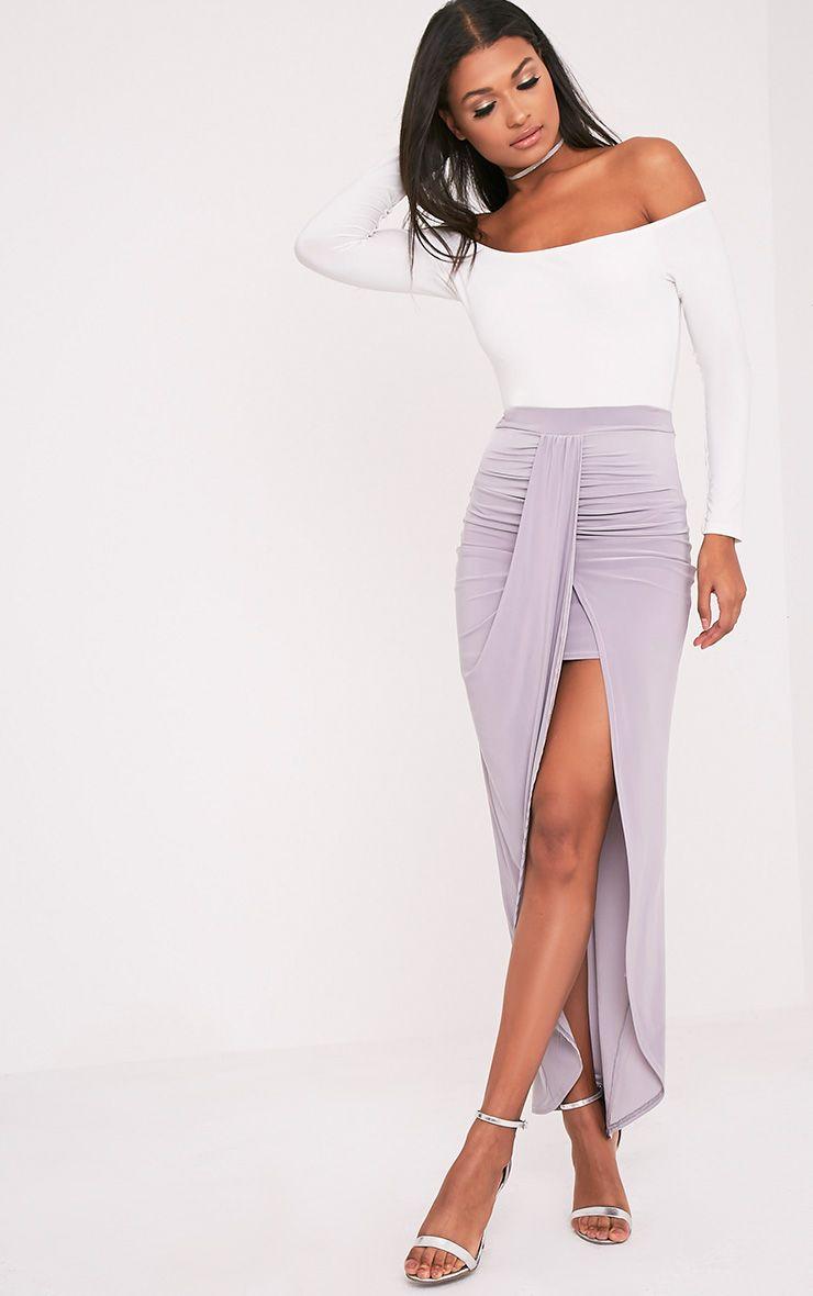 Zelma Silver Grey Slinky Drape Maxi Skirt 1