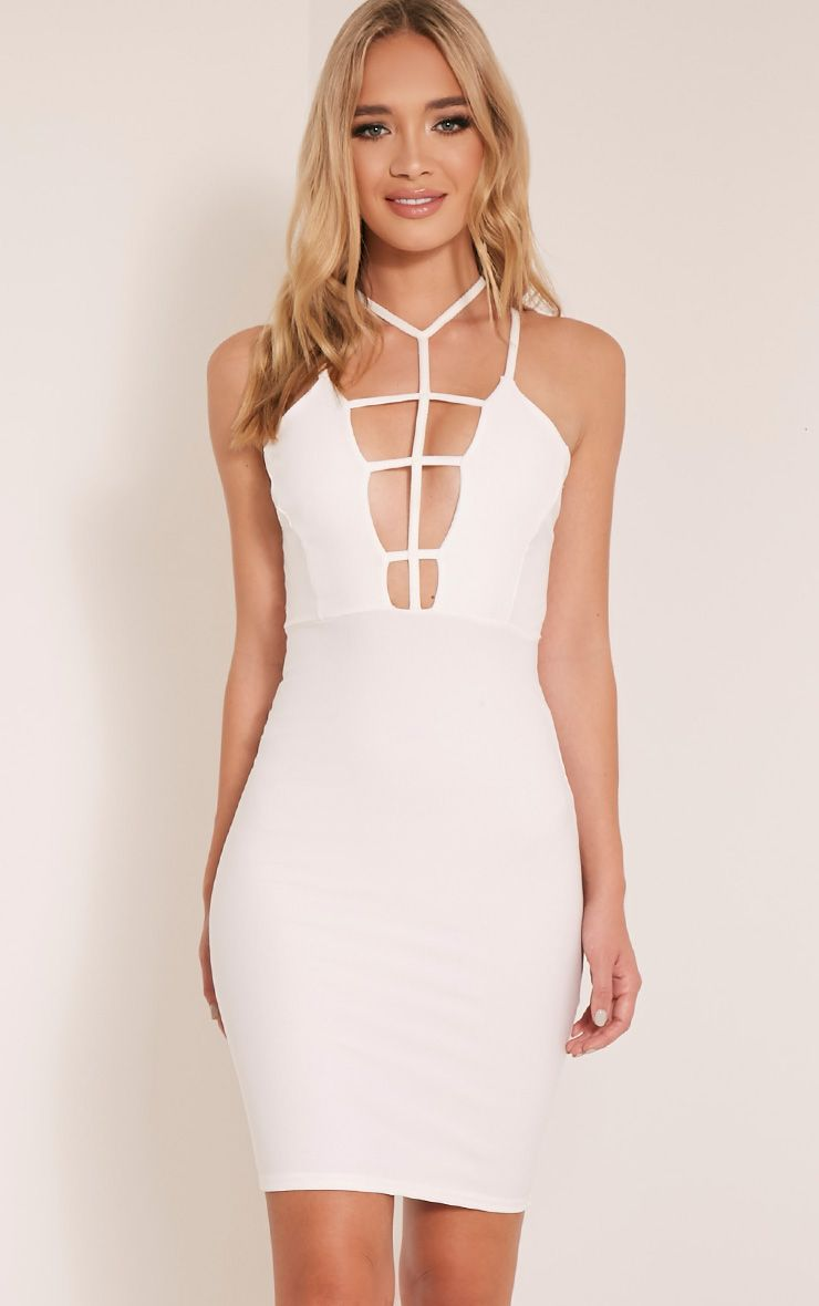 Alessy White Cage Detail Cross Back Bodycon Dress 1