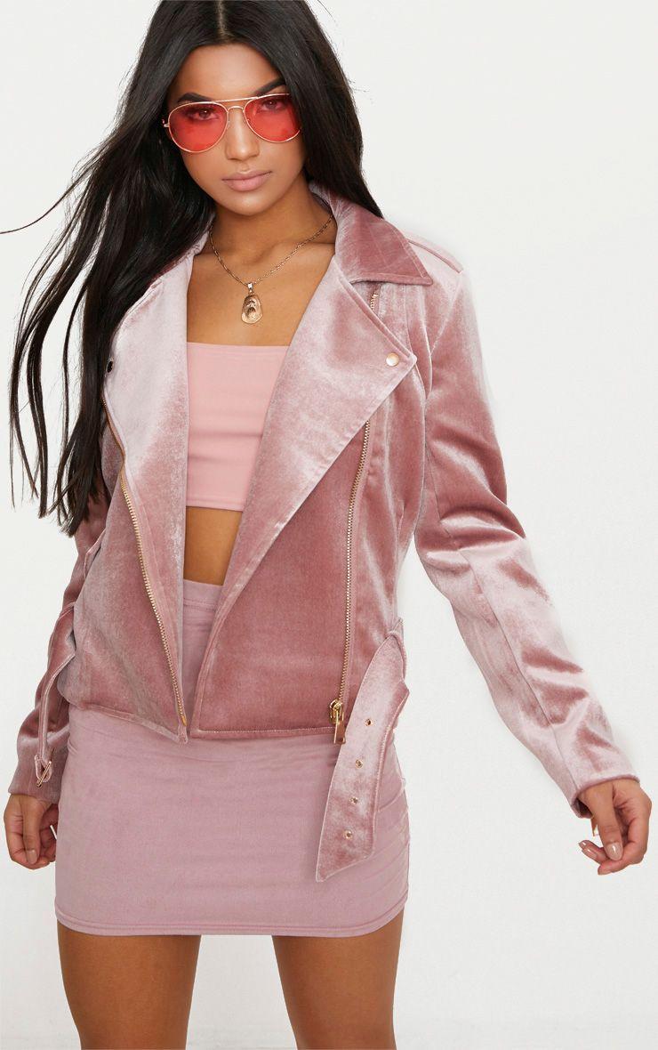 Blush Velvet Biker Jacket