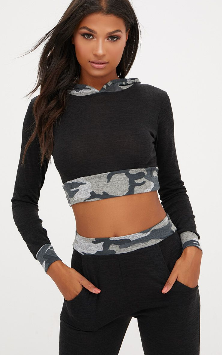 Black Camouflage Trim Crop Hoodie