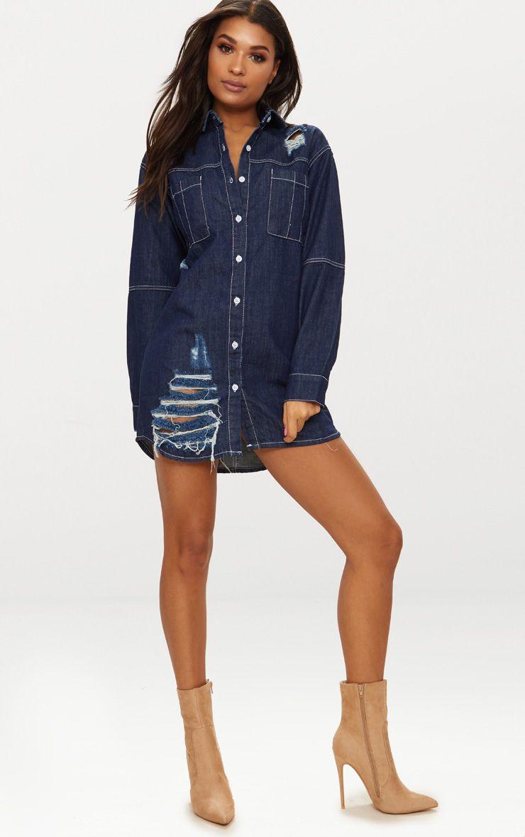 Indigo Contrast Stitch Denim Shirt Dress