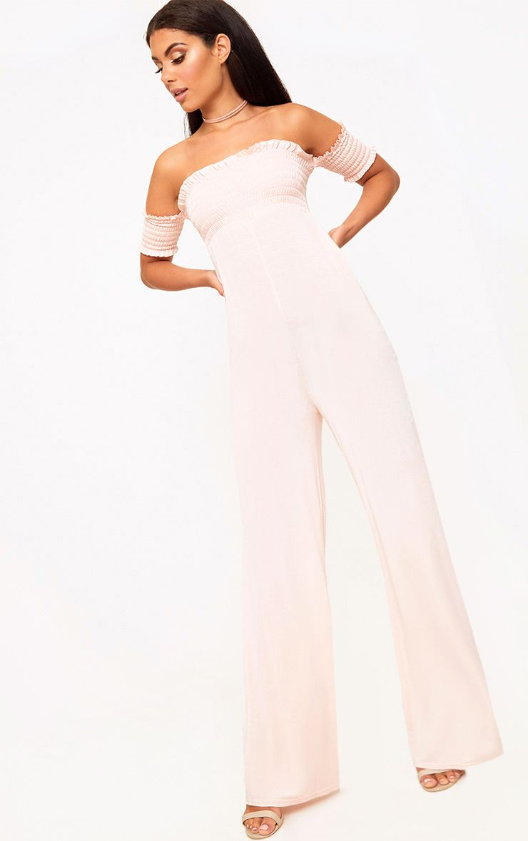 Nude Bardot Shirred Jumpsuit