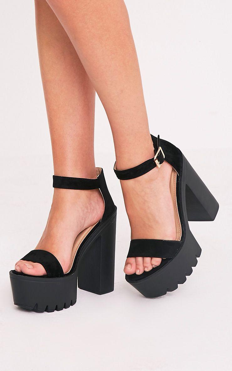 Danica Black Faux Suede Platform Strappy Heels 1