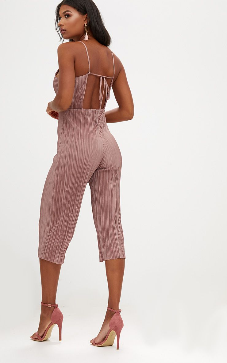 Rose Pleated Tie Back Culotte Jumpsuit
