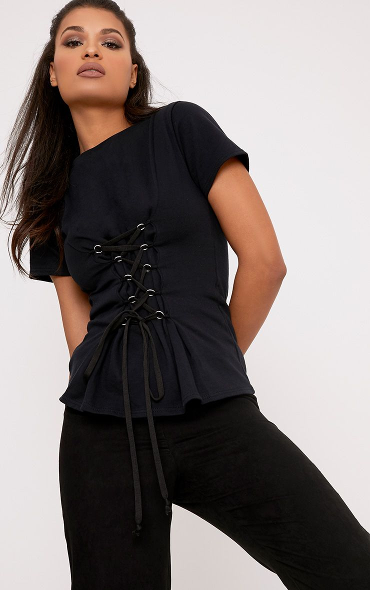 Sahara Black Corset Detail Short Sleeve Sweater 1