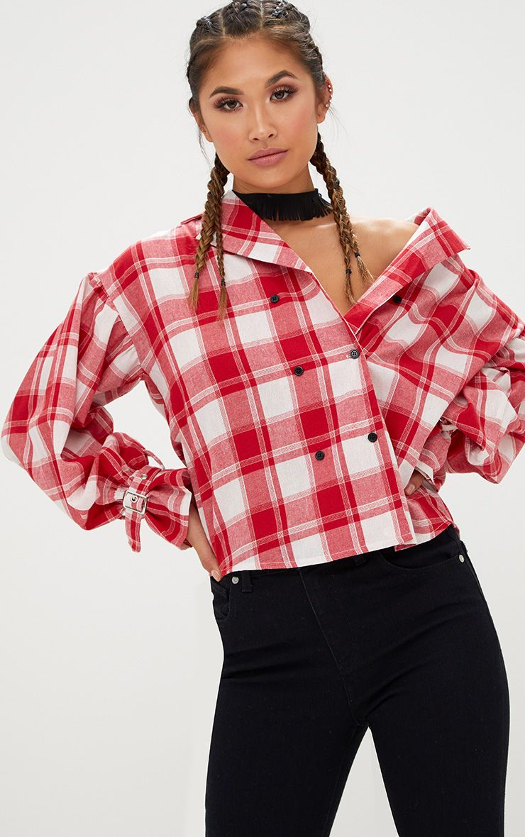 Divya Red Check Cuff Sleeve Off Shoulder Shirt