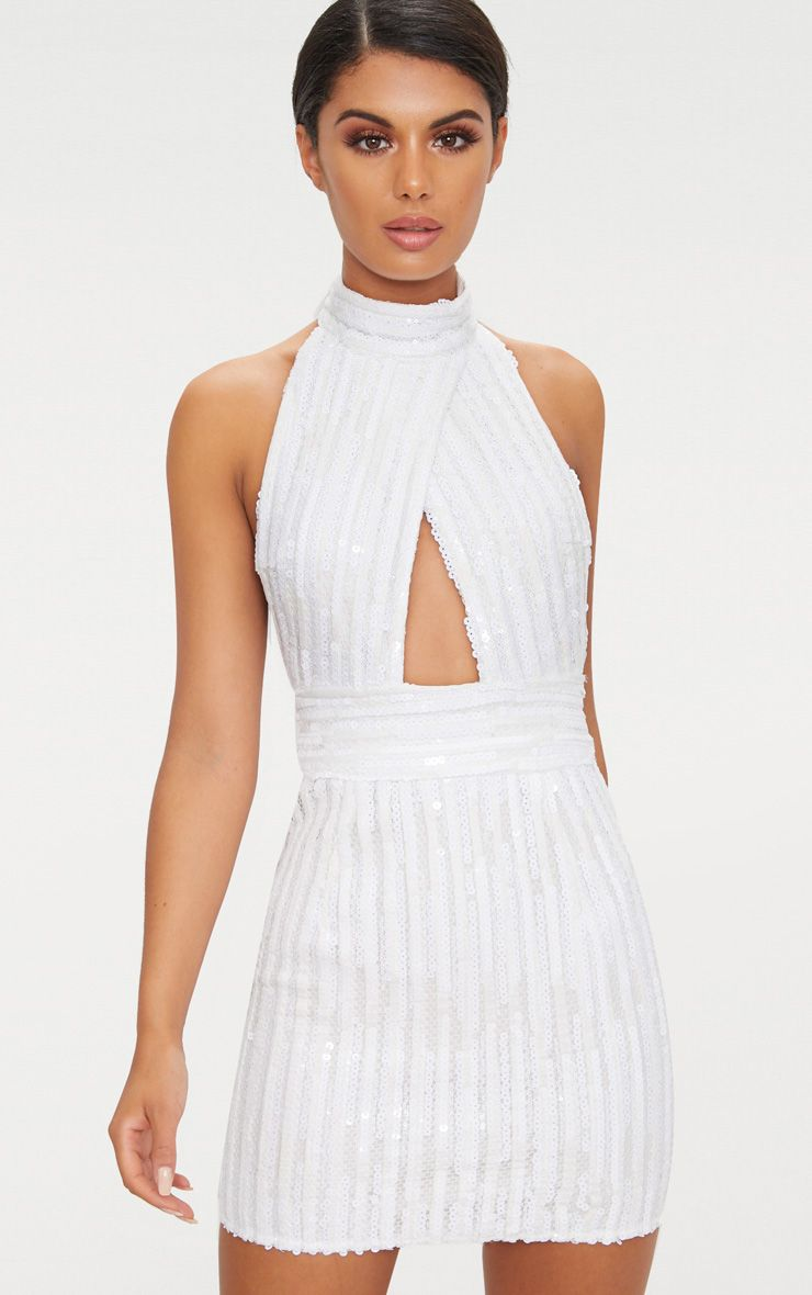 White Backless High Neck Cross Over Detail Bodycon Dress 1