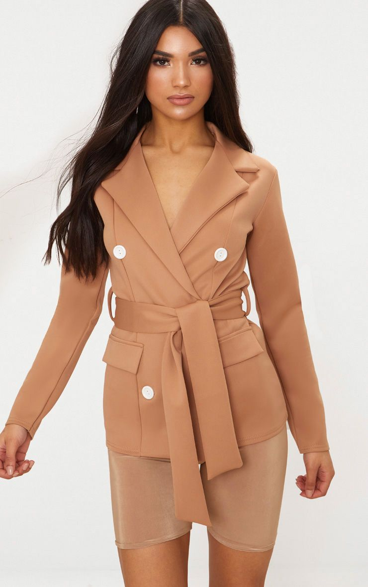Camel Double Breasted Belted Blazer