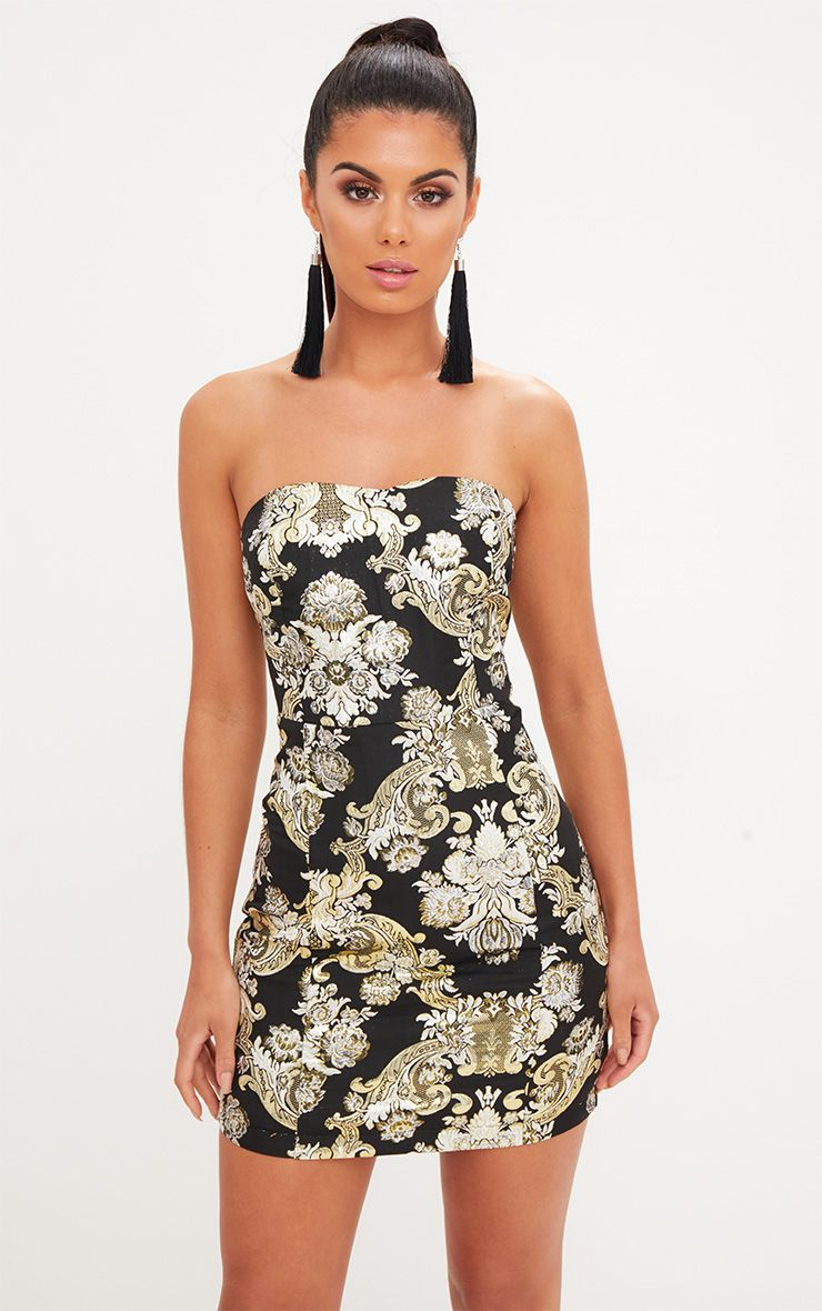 Black Oriental Bandeau Bodycon Dress