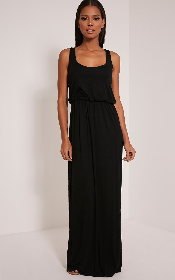 Basic Black Racer Back Maxi Dress