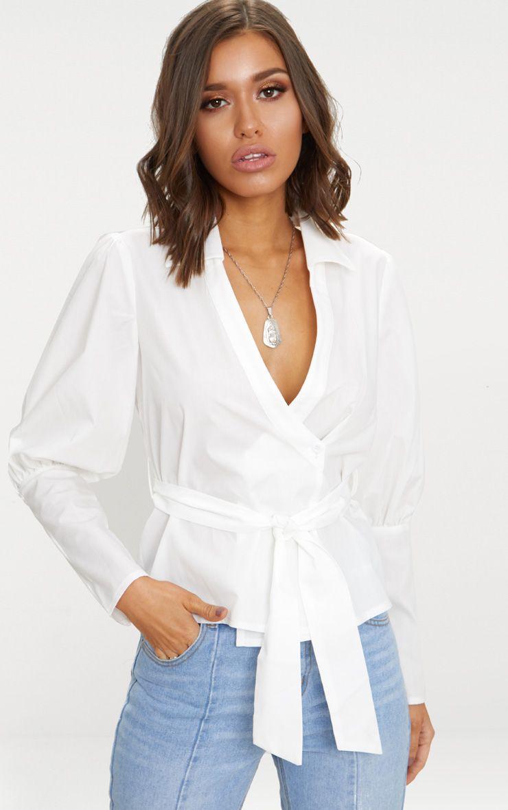 White Tie Waist Plunge Shirt 1