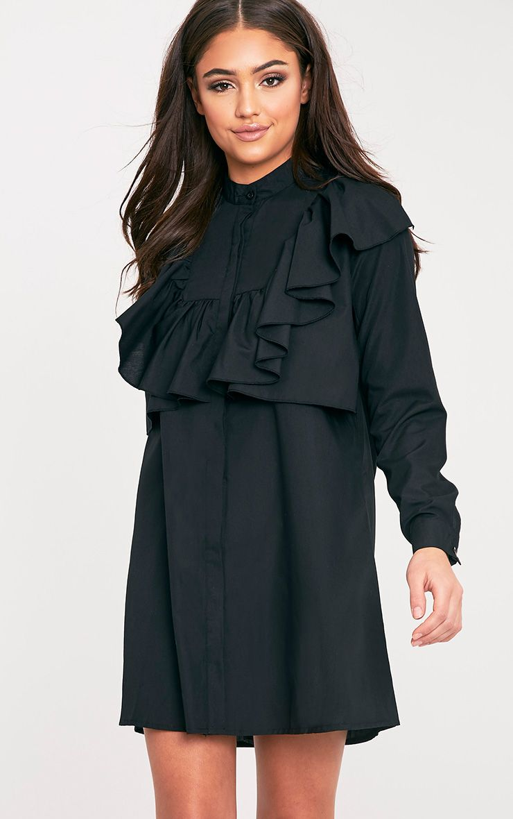 Flora Black Frill Front Shirt Dress