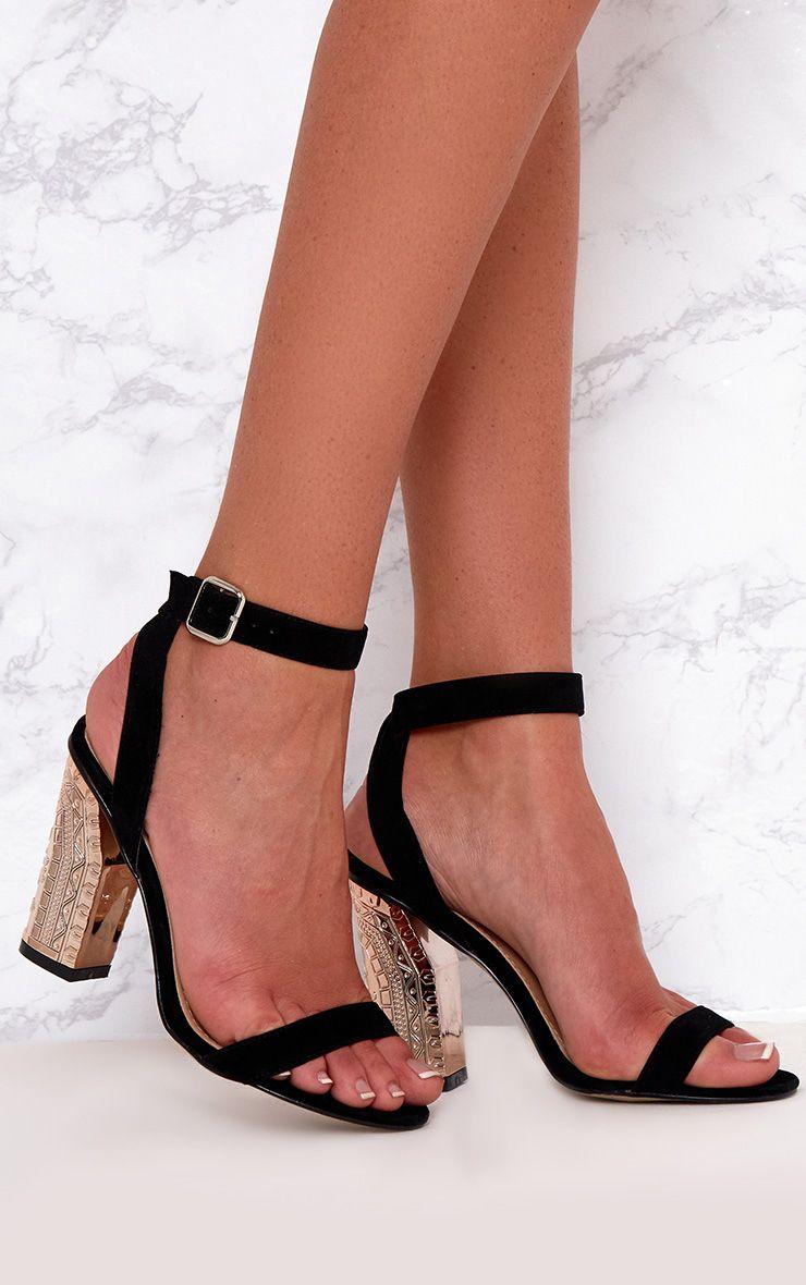 Black Faux Suede Ornate Heels