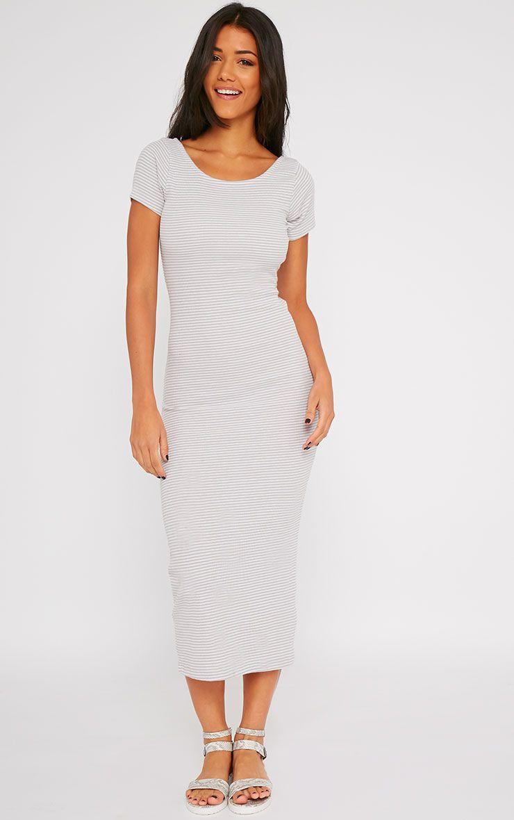 Suzie Grey Ribbed Jersey Stripe Print Maxi Dress 1