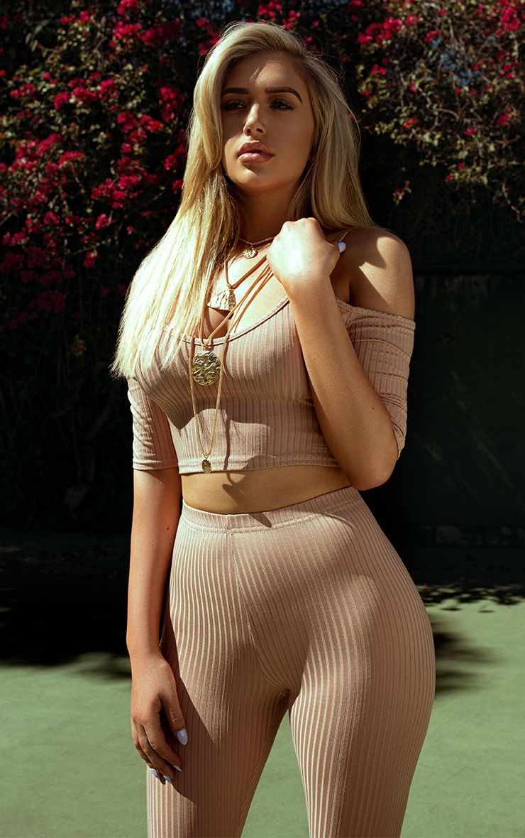 Shape Anusha Nude Ribbed Cold Shoulder Crop Top Co-ord