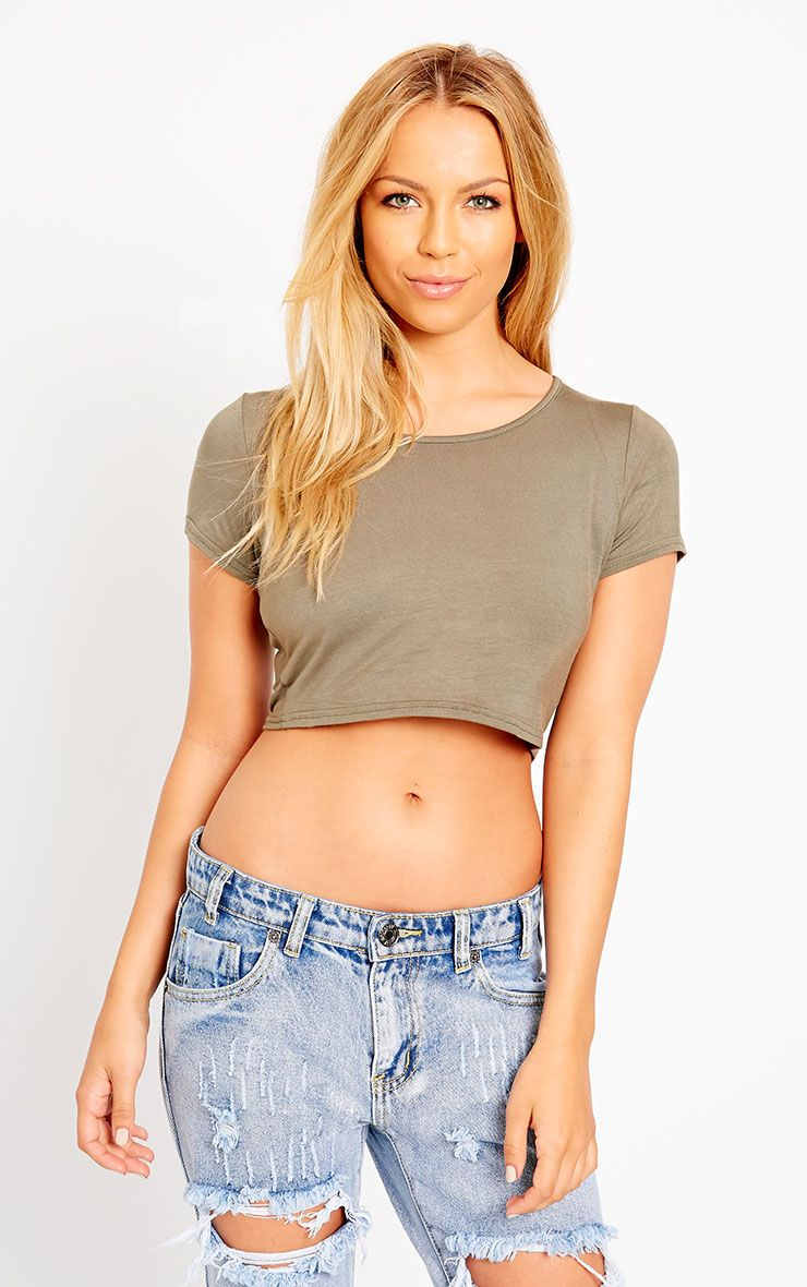 Simone Khaki Short Sleeve Crop Top 1