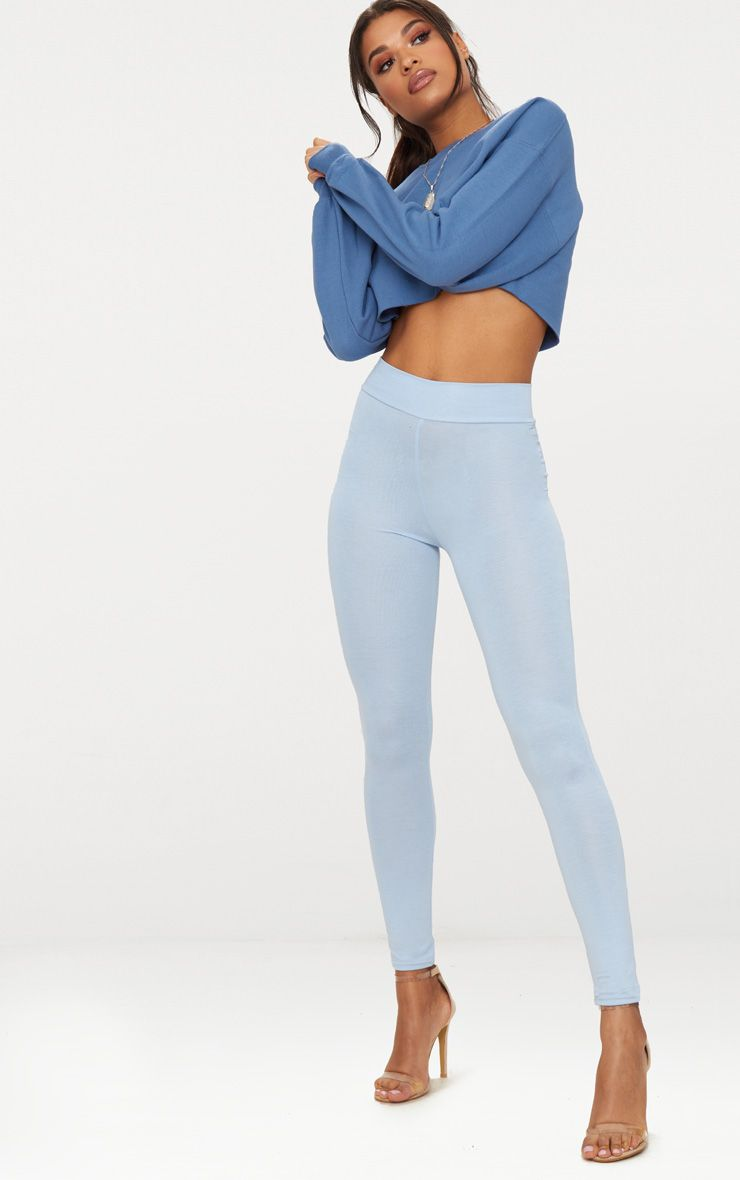 Powder Blue High Waisted Jersey Leggings