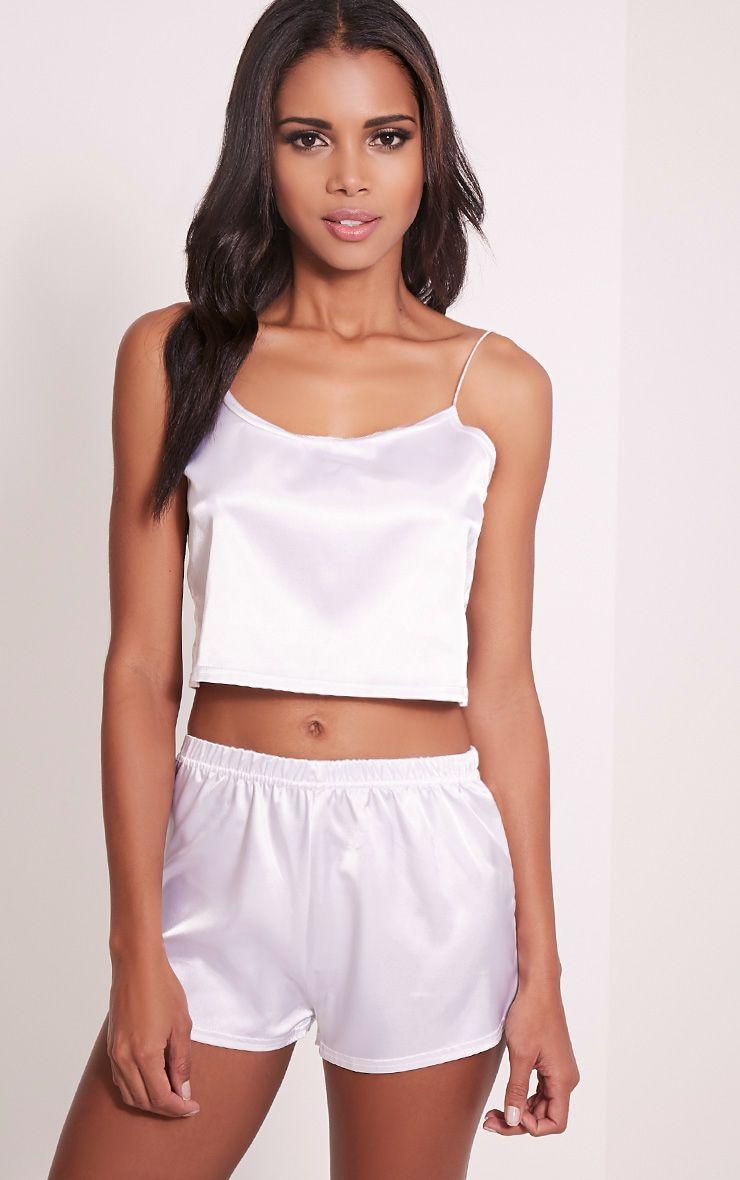 Issie White Satin Pyjama Shorts Set 1