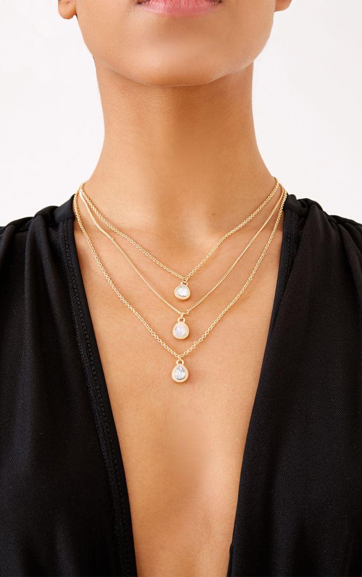 Rea Gold Layered Tear Drop Jewel Necklace