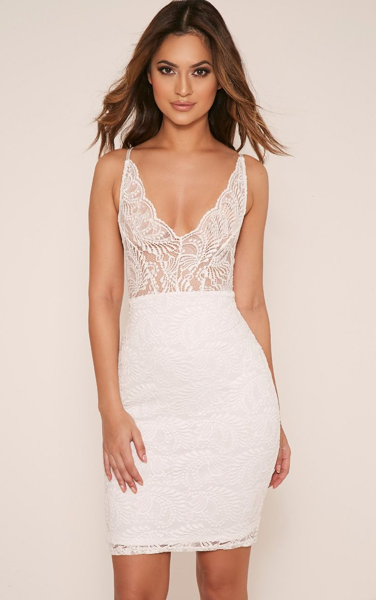 Lucila White Sheer Lace Bodycon Dress