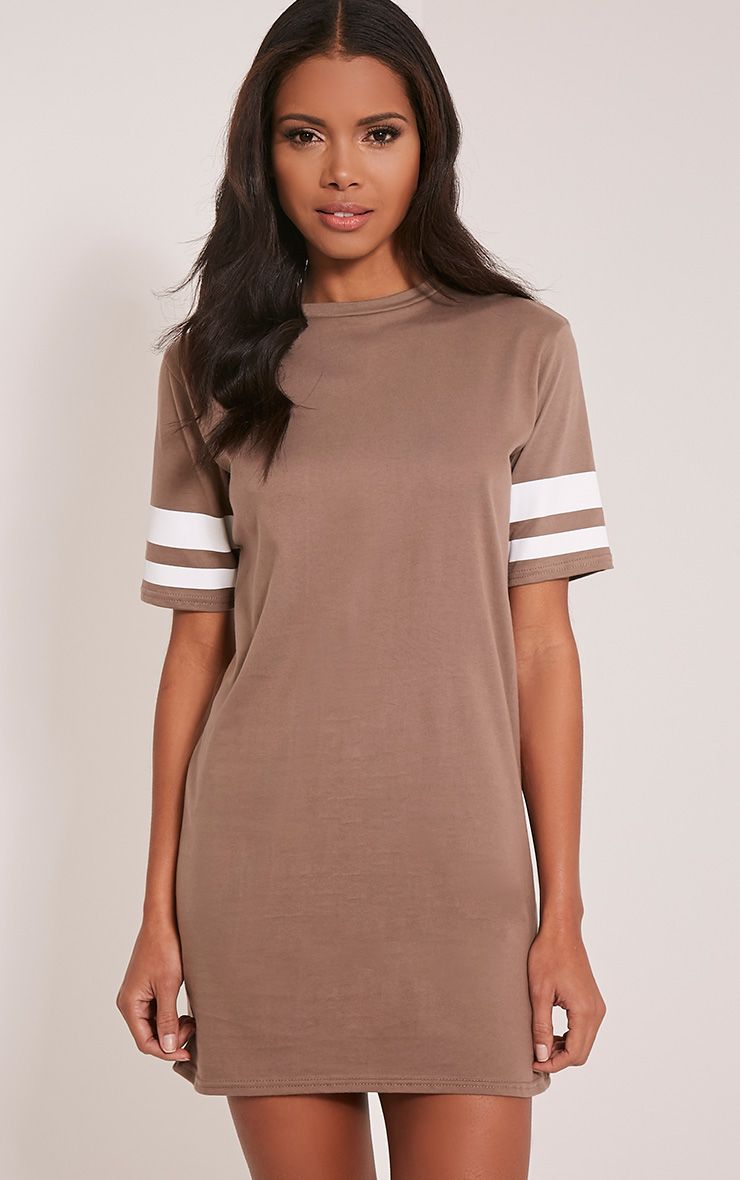 Taylia Taupe Stripe Sleeve T Shirt Dress 1