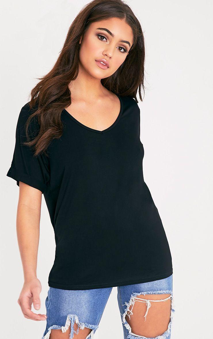 Basic Black V-Neck Roll Sleeve T-Shirt 1