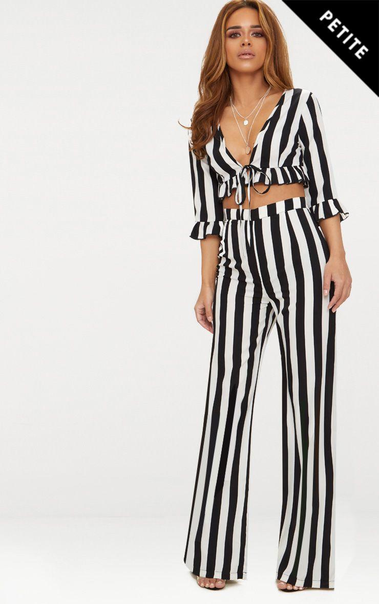 Petite Black Monochrome Stripe Wide Leg Trousers