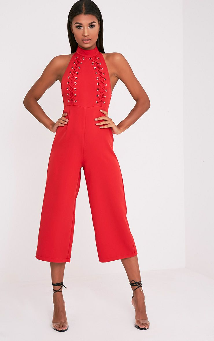 Stephanie Red Lace Up Cullote Jumpsuit