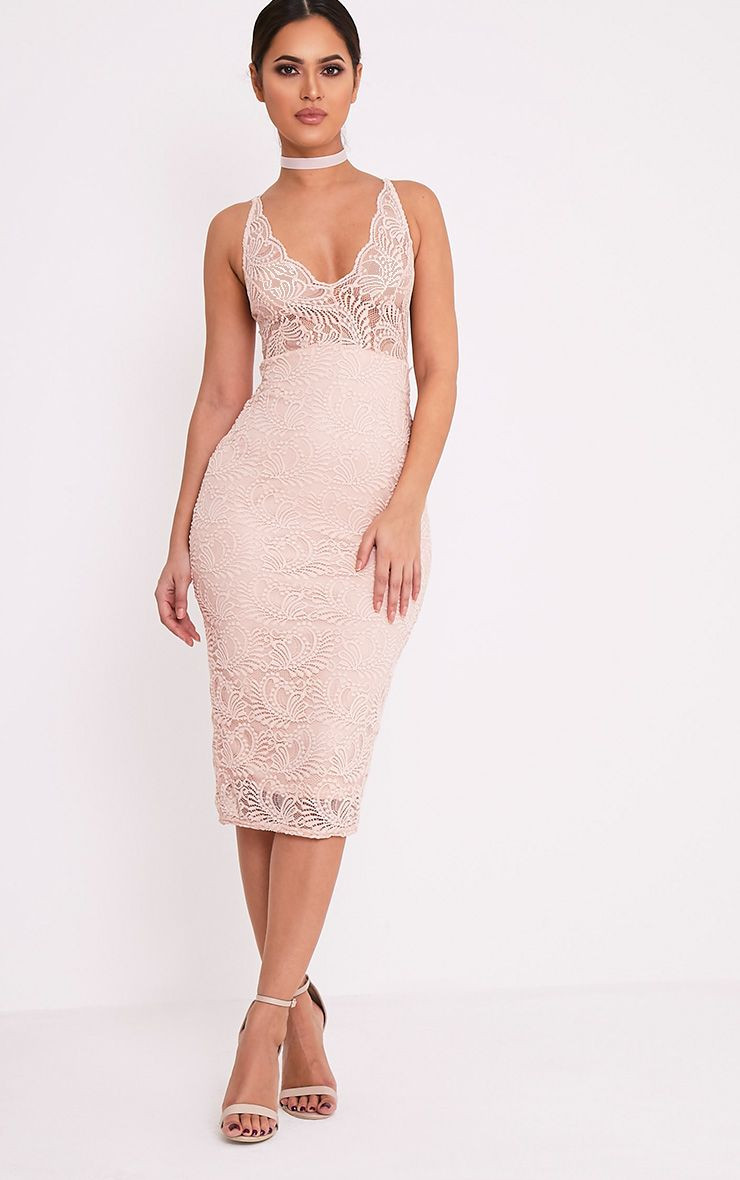 Mikalia Nude Strappy Lace Midi Dress