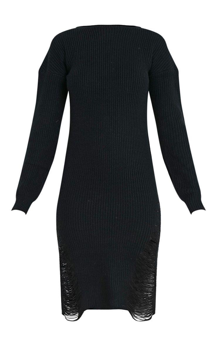 Kionae robe tricotée surdimensionnée effilochée noire 4