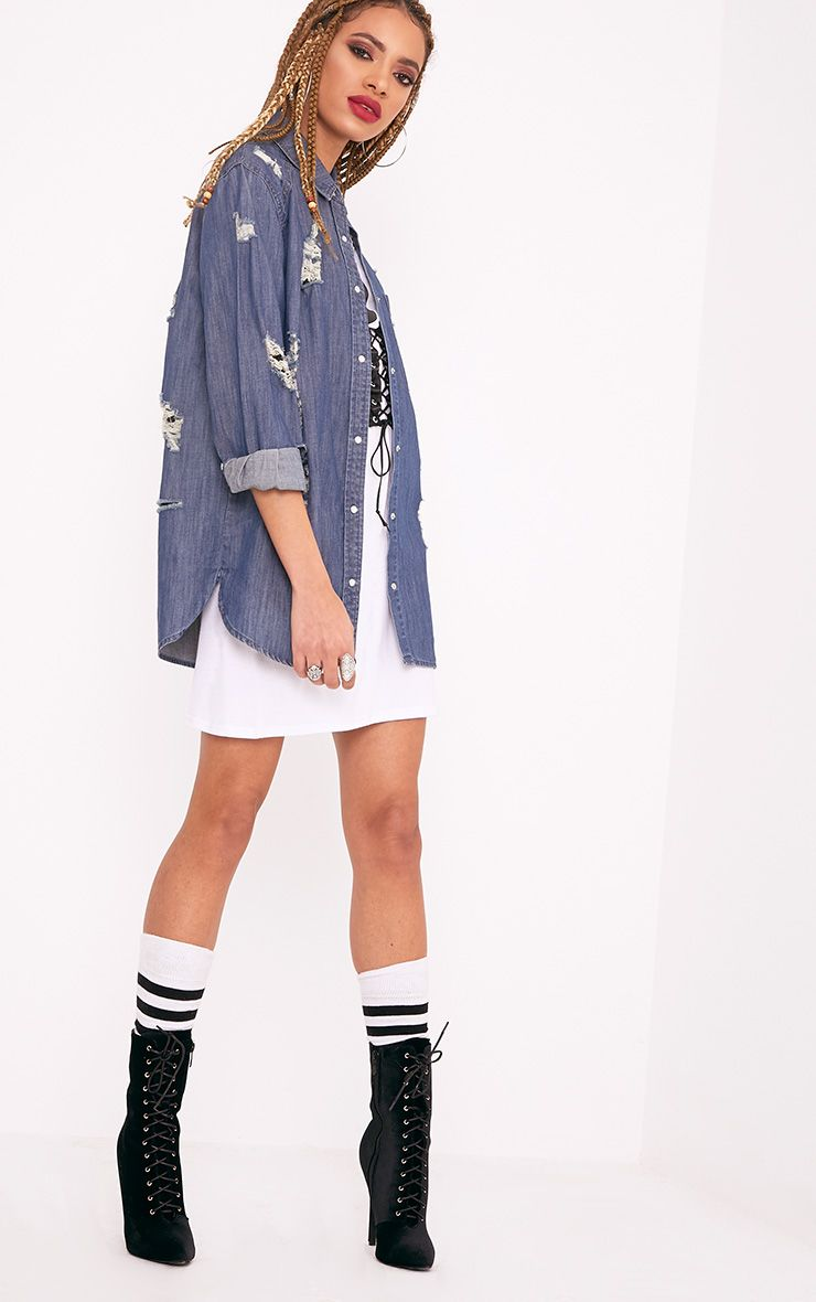Miae Mid Wash Distressed Oversized Denim Shirt