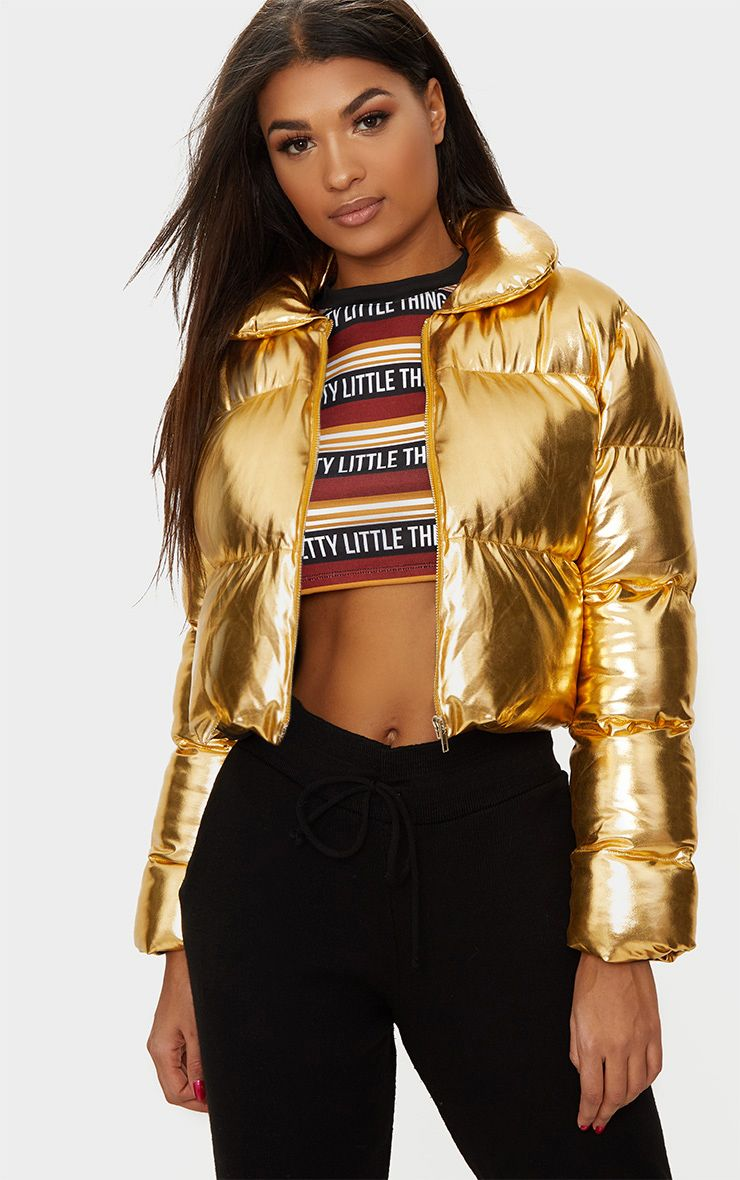 Gold Metallic Cropped Puffer Jacket