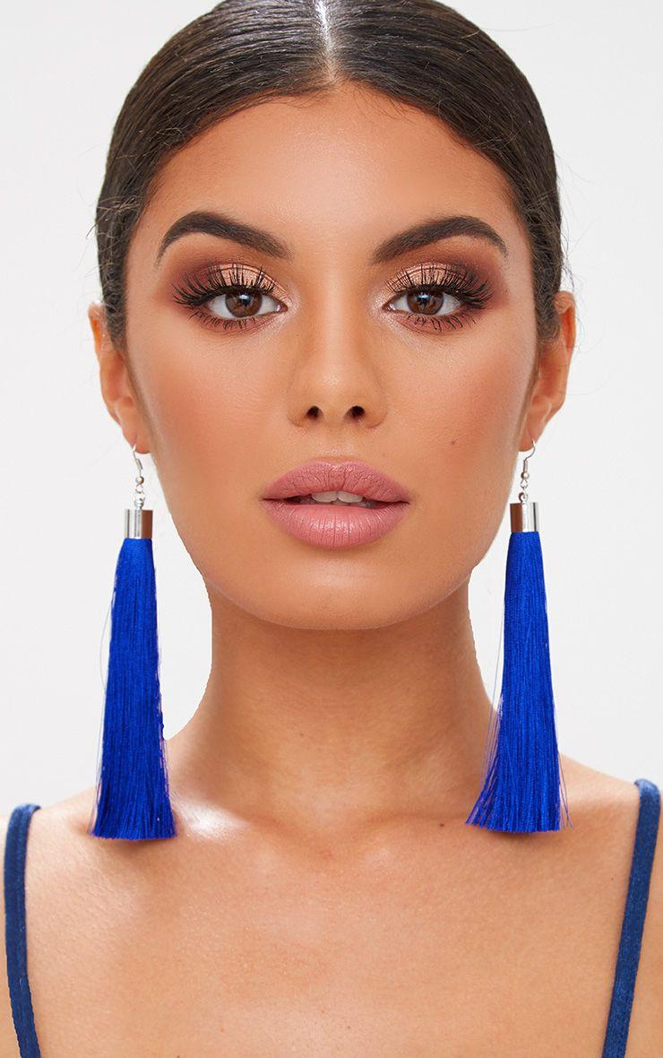 Boucles d oreilles cobalt longues à pompons