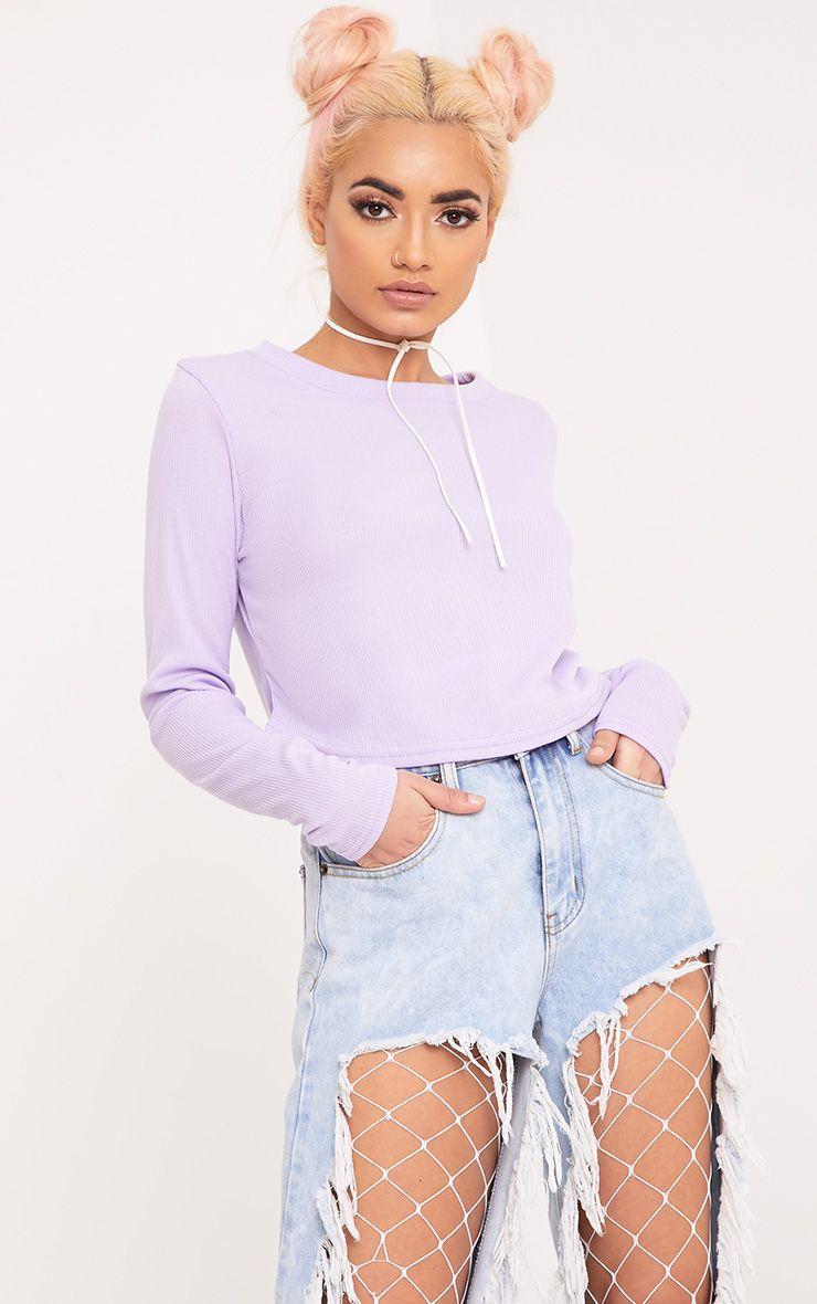 Rava Lilac Jersey Rib Curved Hem Top