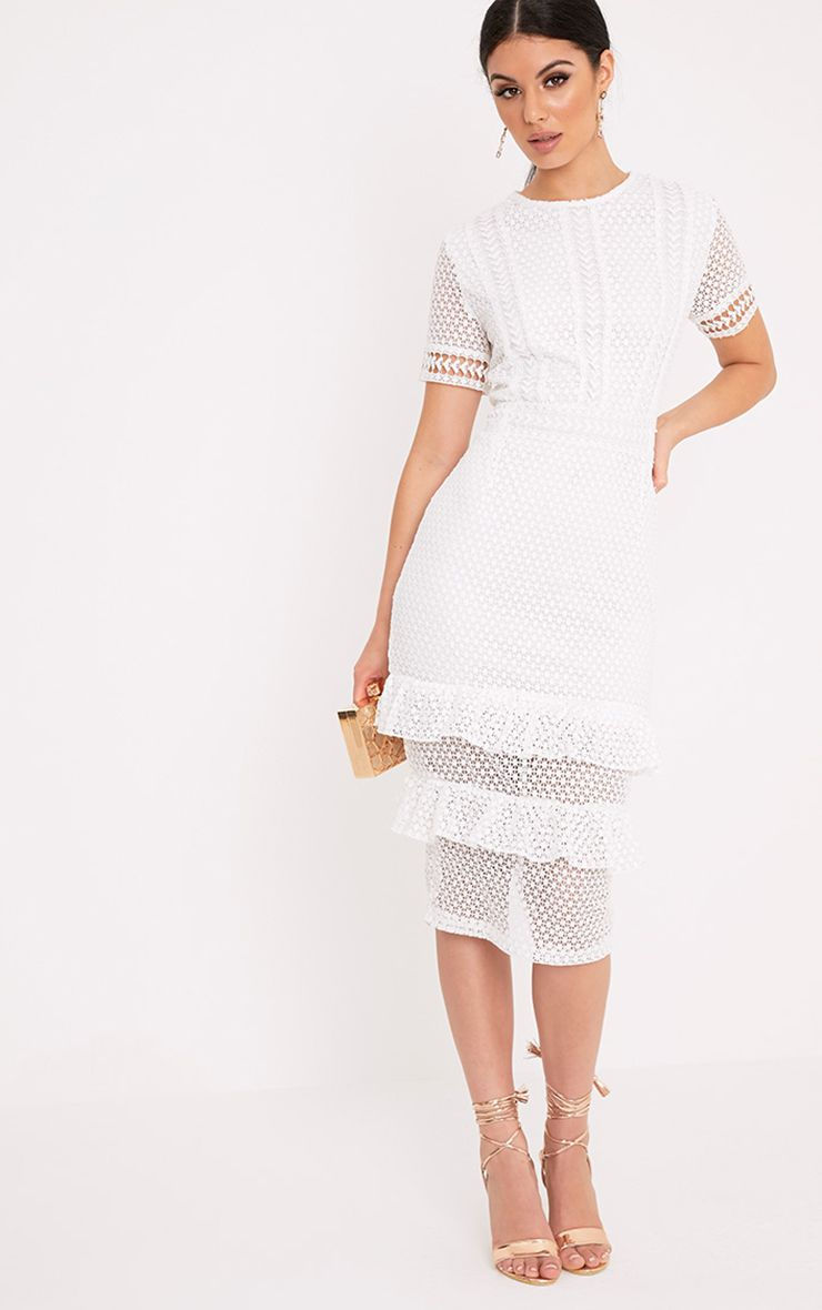 Anna White Lace Frill Midi Dress