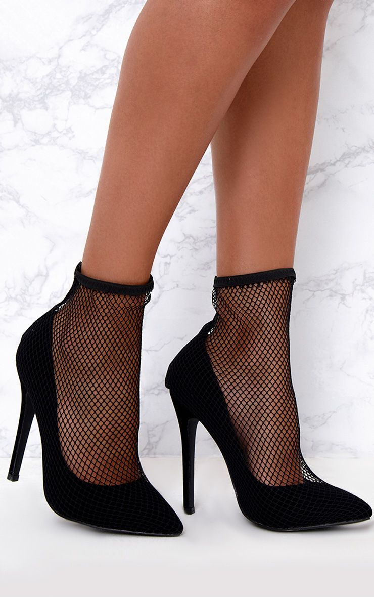 Black Fishnet Sock Heels