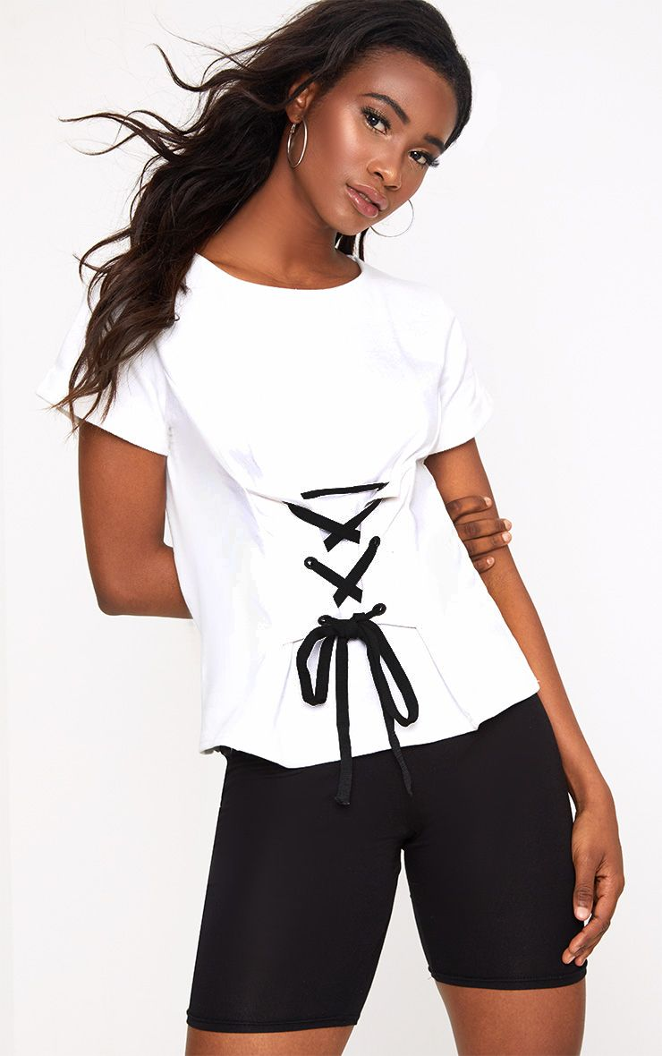 White Corset Lace Up T Shirt Sweater