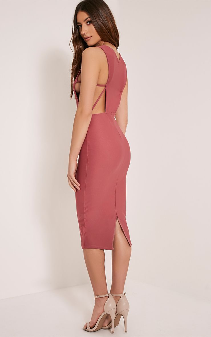 Rima Rose Strappy Cut Out Midi Dress 1