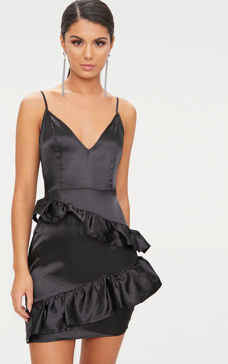 Black Plunge Frill Detail Satin Bodycon Dress 1