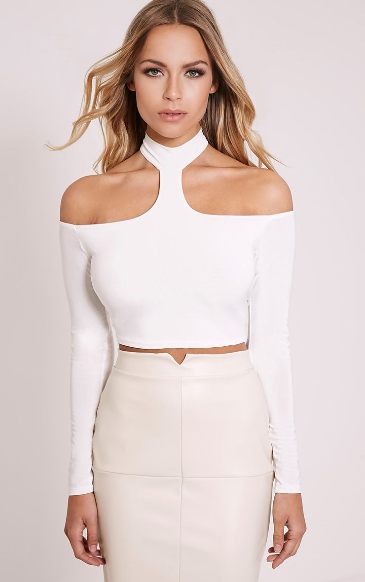 Rosalee Cream Cut Out Shoulder Crop Top 1