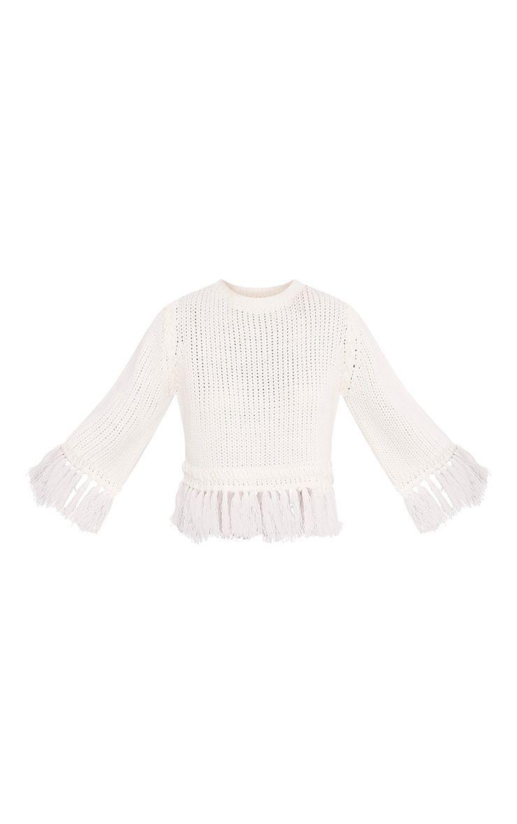 Shelia pull tricoté court à franges crème 3